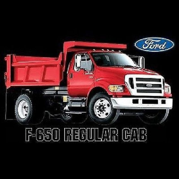 Ford F 650 Red Dump Truck Mens Short or Long Sleeve T Shirt