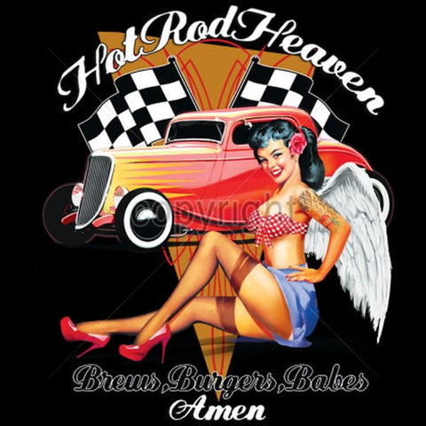 Hot Rod Heaven Angel Babe Mens Short or Long Sleeve Car T Shirt 17049