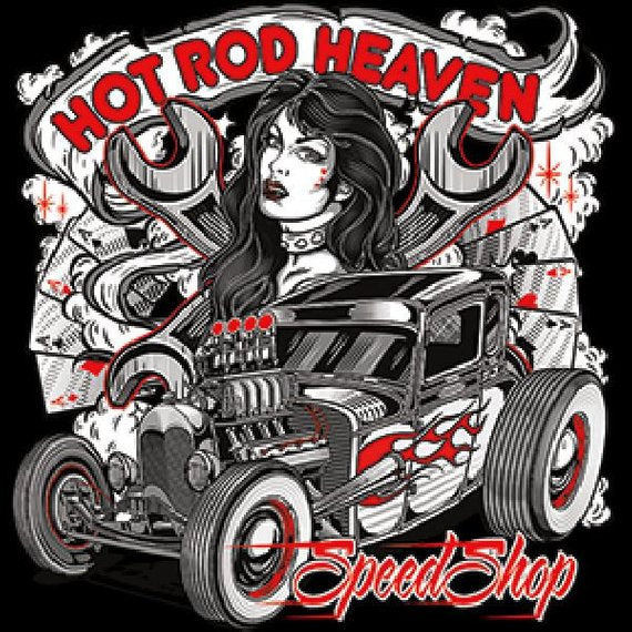 Hot Rod Heaven Speed Shop Mens Short or Long Sleeve Car T Shirt 20049