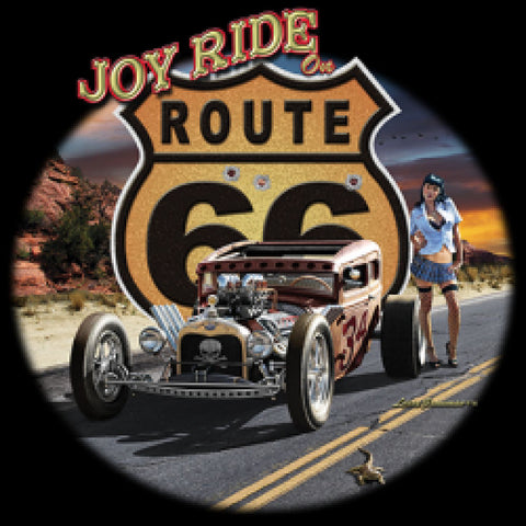 Joy Ride on Route 66 Mens Quality Short or Long Sleeve Car Hot Rod T Shirt 21297D3