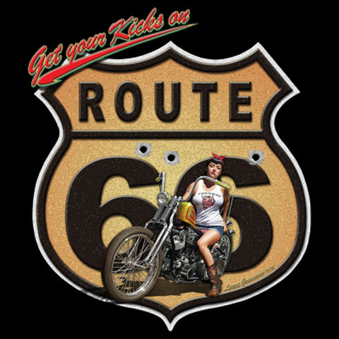Get your Kicks on Route 66 Motorcycle and Girl Adult Unisex Short or Long Sleeve T Shirt 21287HD2