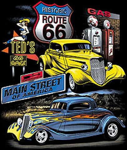 Route 66 Main Street of America Vintage Cars Mens Short or Long Sleeve T Shirt 3852