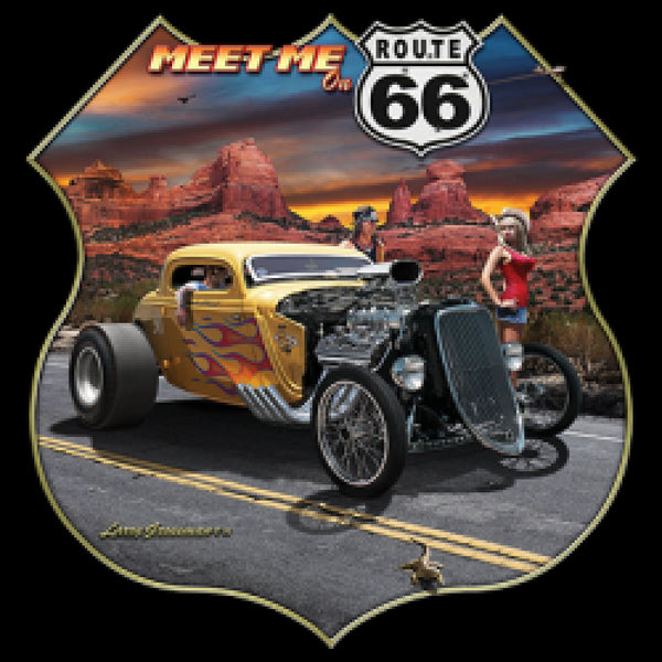 Meet Me On Route 66 Mens  Short or Long Sleeve Car Hot Rod T Shirt 21301HD1