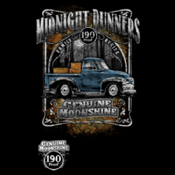 Midnight Runners Genuine Moonshine Mens Gildan Quality Short or Long Sleeve Car Pickup T Shirt 18179D0