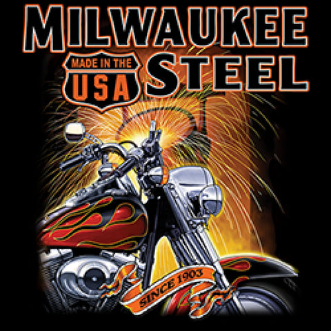 Milwaukee Steel Adult Unisex Quality Motorcycle Short or Long Sleeve T Shirt 22817D1