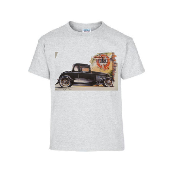 Vintage 1933 Five Window Coupe V8 Adult Unisex T Shirt Brent Gill Design POS183