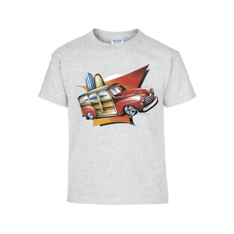 Woody Station Wagon 1948 Red Car Adult Unisex T Shirt Brent Gill Design POS449
