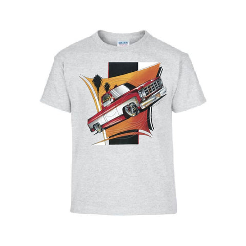 Vintage 1960s Red and White Pickup Car Adult Unisex T Shirt Brent Gill Design POS441