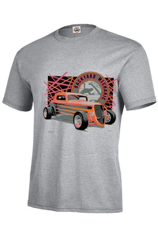 Backyard Mechanic Four Window Hot Rod Coupe Mens Quality Short or Long Sleeve T Shirt