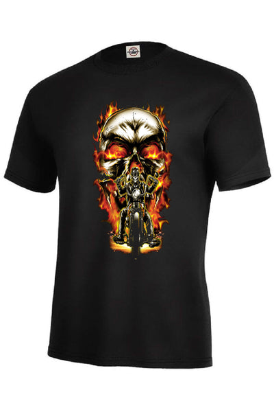 Biker Skull GIANT GAPHIC Adult Unisex Quality Motorcycle Short or Long Sleeve T Shirt 22590D0
