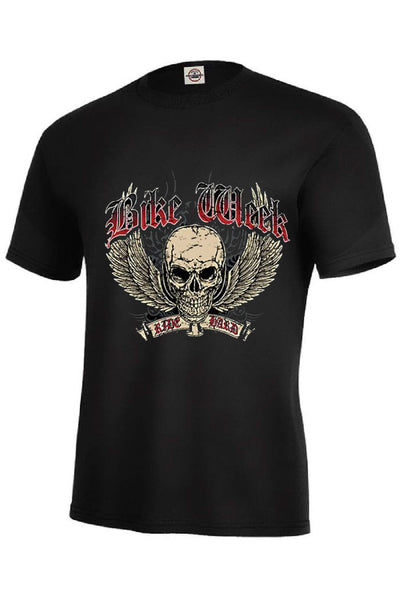 Bike Week Winged Skull Ride Hard Adult Unisex Quality Motorcycle Long or Short Sleeve T Shirt 16384