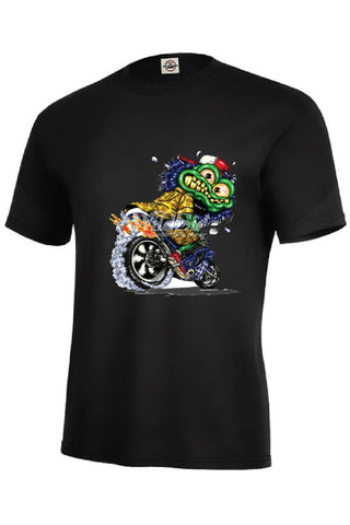 Cartoon Green Monster On Motorcycle Mens Short or Long Sleeve T Shirt 18021