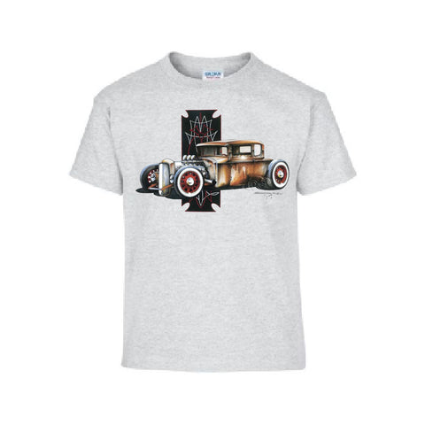 Vintage Five Window Rat Rod Car Adult Unisex T Shirt Brent Gill Design POS303