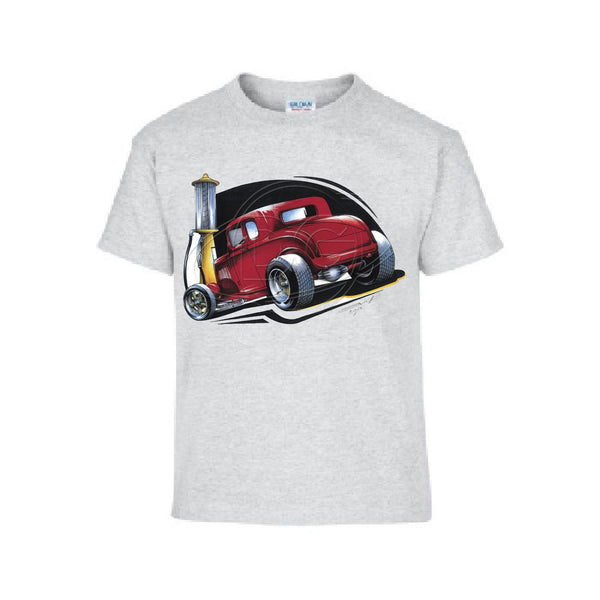 Vintage Classic Five Window Red Coupe Hot Rod Adult Unisex T Shirt Brent Gill Design POS475