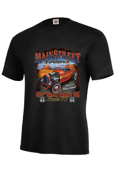 Main Street Hot Rod Mens Short or Long Sleeve Car T Shirt 15202