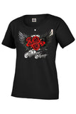 Motorcycle Womens T Shirt Biker Highway Honey Roses and Wing Design 14019