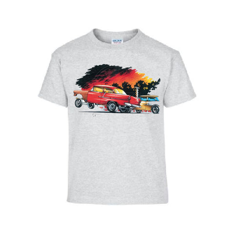 Vintage 1955 Red Racing Gasser Car Adult Unisex T Shirt  Brent Gill Design POS390