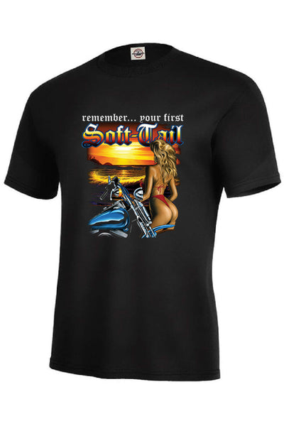 Remember Your First Soft Tail Adult Unisex Quality Motorcycle Short or Long Sleeve T Shirt 22829D1
