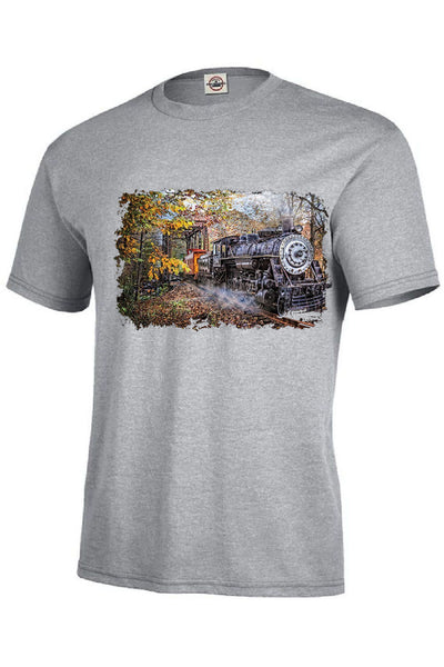 Steam Train Coming Down the Track Mens Short or Long Sleeve T Shirt 20644HL2