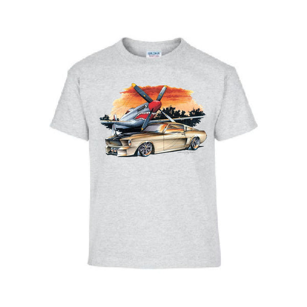 Vintage Tan Pony Car and Airplane Adult Unisex White T Shirt Brent Gill Design POS393