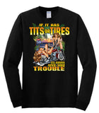 Tits Or Tires Adult Unisex Quality Motorcycle Short or Long Sleeve Mature T Shirt 22832D1