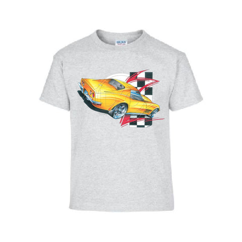 Vintage USA Yellow Sports Car Adult Unisex T Shirt Brent Gill Design POS412