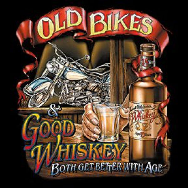 Old Bikes Good Whiskey Adult Unisex Quality Motorcycle Long or Short Sleeve T Shirt 6173