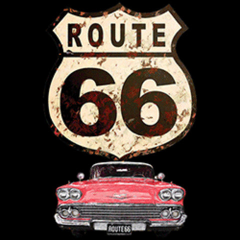 1958 Red Car Route 66 Mens Quality Short or Long Sleeve Car T Shirt 21896HD2
