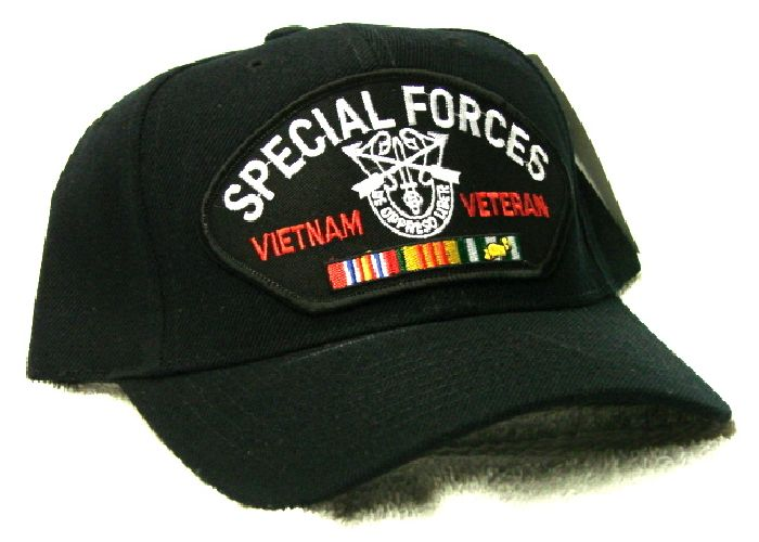 5fc3add08 Vintage Special Forces Vietnam Veteran Low Profile Black Ball Cap Never Worn