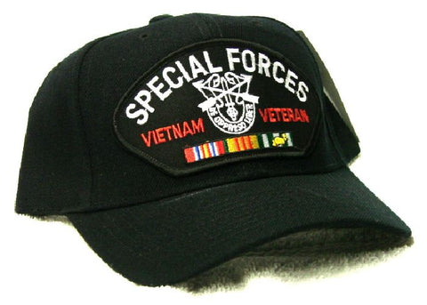 Vintage Special Forces Vietnam Veteran Low Profile Black Ball Cap Never Worn
