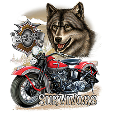 American Motorcycle Survivors with Wolf Adult Unisex Quality Motorcycle Short or Long Sleeve T Shirt 22695D1