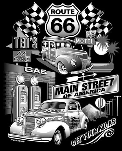 Route 66 Main Street Jumbo Design Mens Short or Long Sleeve T Shirt 3849