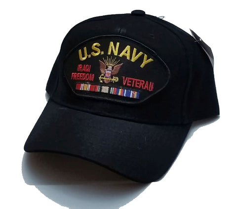 Vintage U S Navy Iraqi Freedom Veteran Low Profile Black Ball Cap Velcro Tabs Never Worn