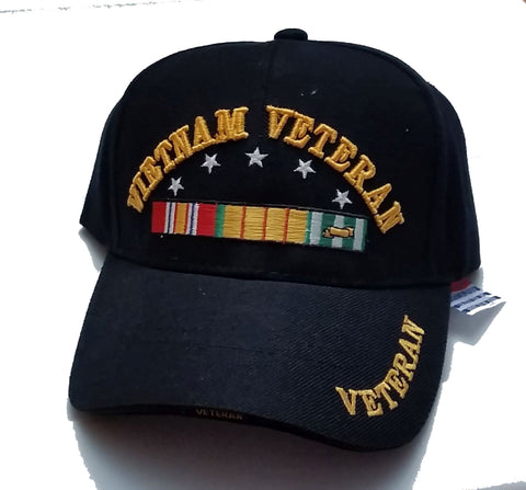 Vintage Vietnam Veteran Low Profile Black Ball Cap Ultra Fit Never Worn