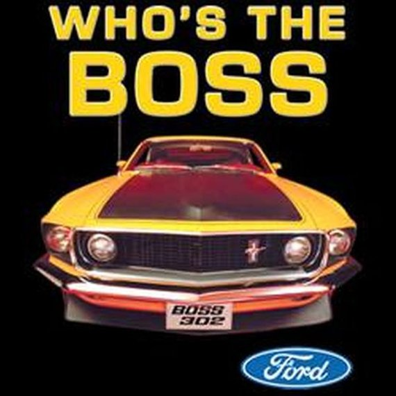 Ford Mustang Who is the Boss Licensed Mens Short or Long Sleeve Car T Shirt 13736HD2