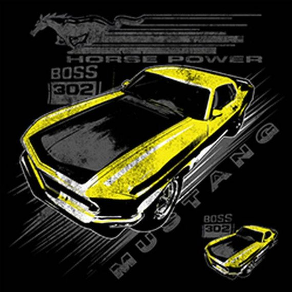 Ford Yellow Mustang Boss 302 Mens Short or Long T Shirt 21280D1