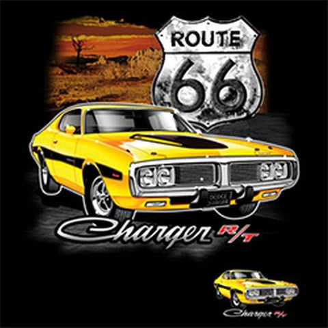 Yellow Dodge Charger Route 66 Mens Short or Long Sleeve T Shirt 21147D1