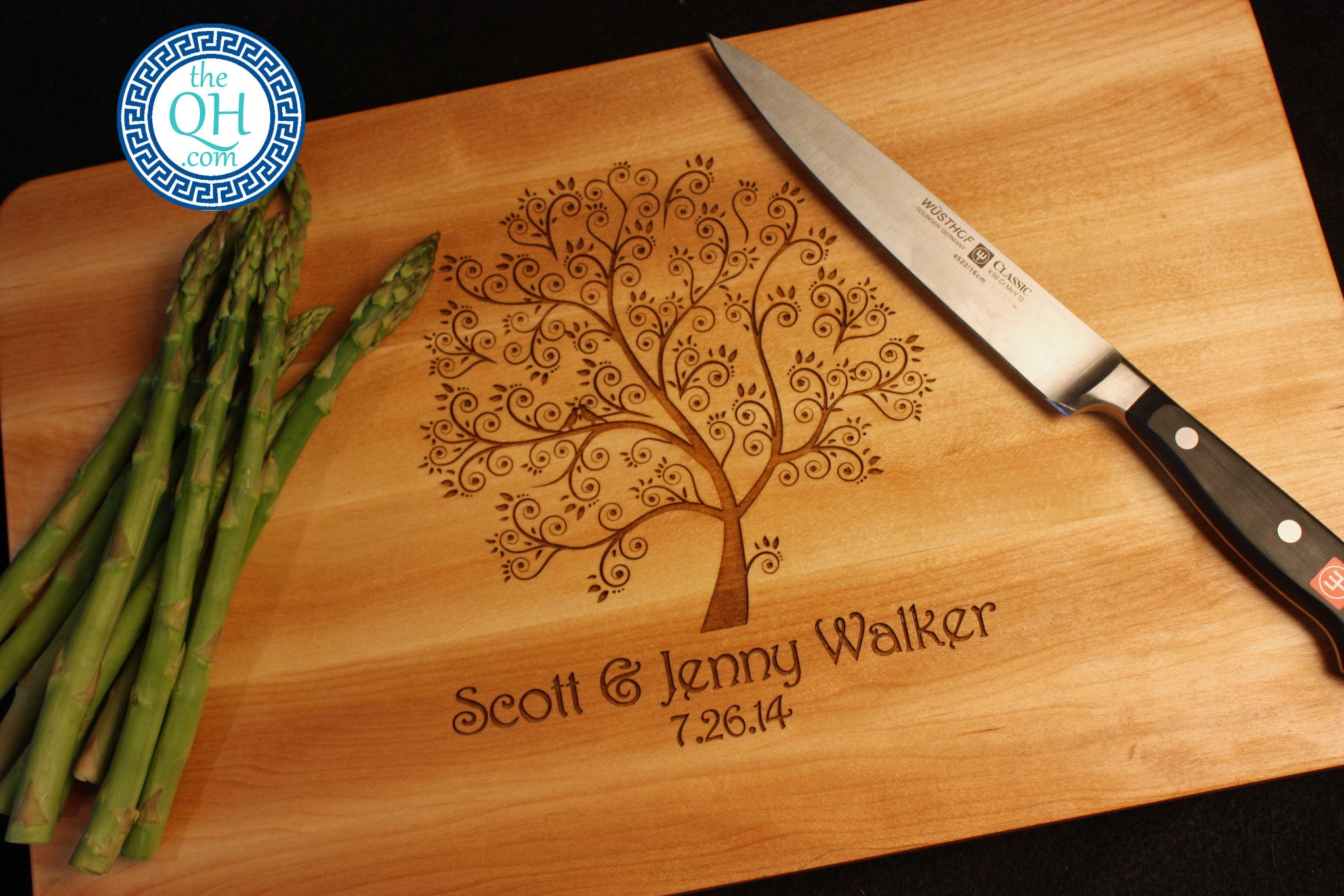 Personalized Cutting Board Boos Love Birds In Tree The Quintessential Hostess