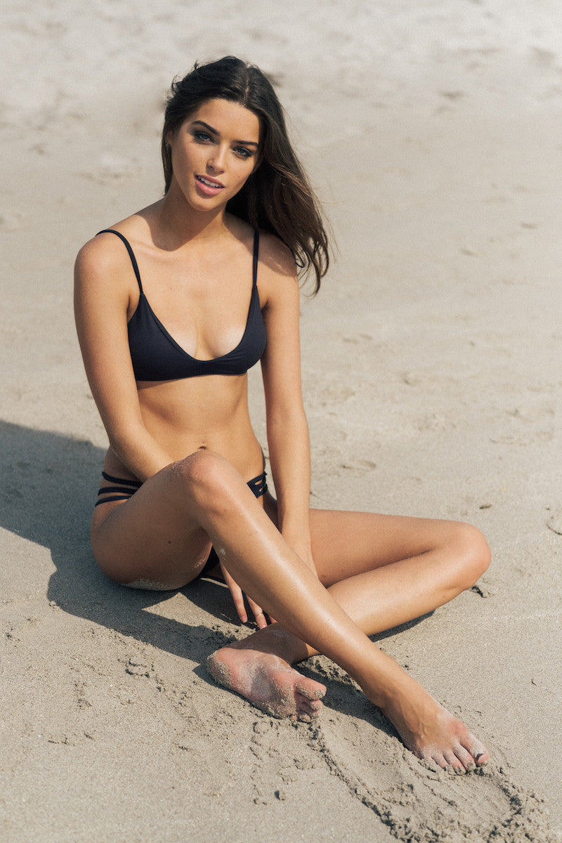 Sharp Bikini Top in Black by Tuhkana Swimwear