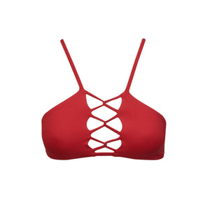Tangled Bikini Top in Valentine by Tuhkana Swimwear