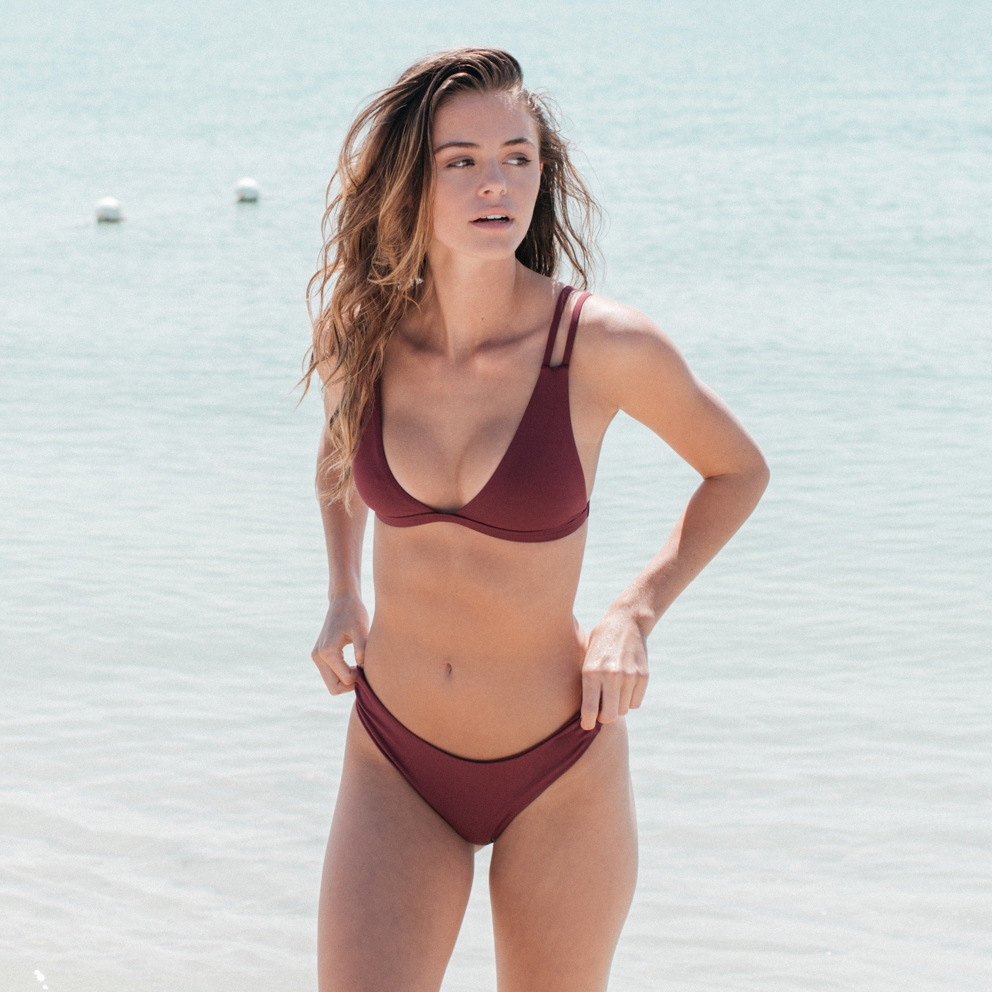 Caravel Bikini Top in Maroon by Tuhkana Swimwear