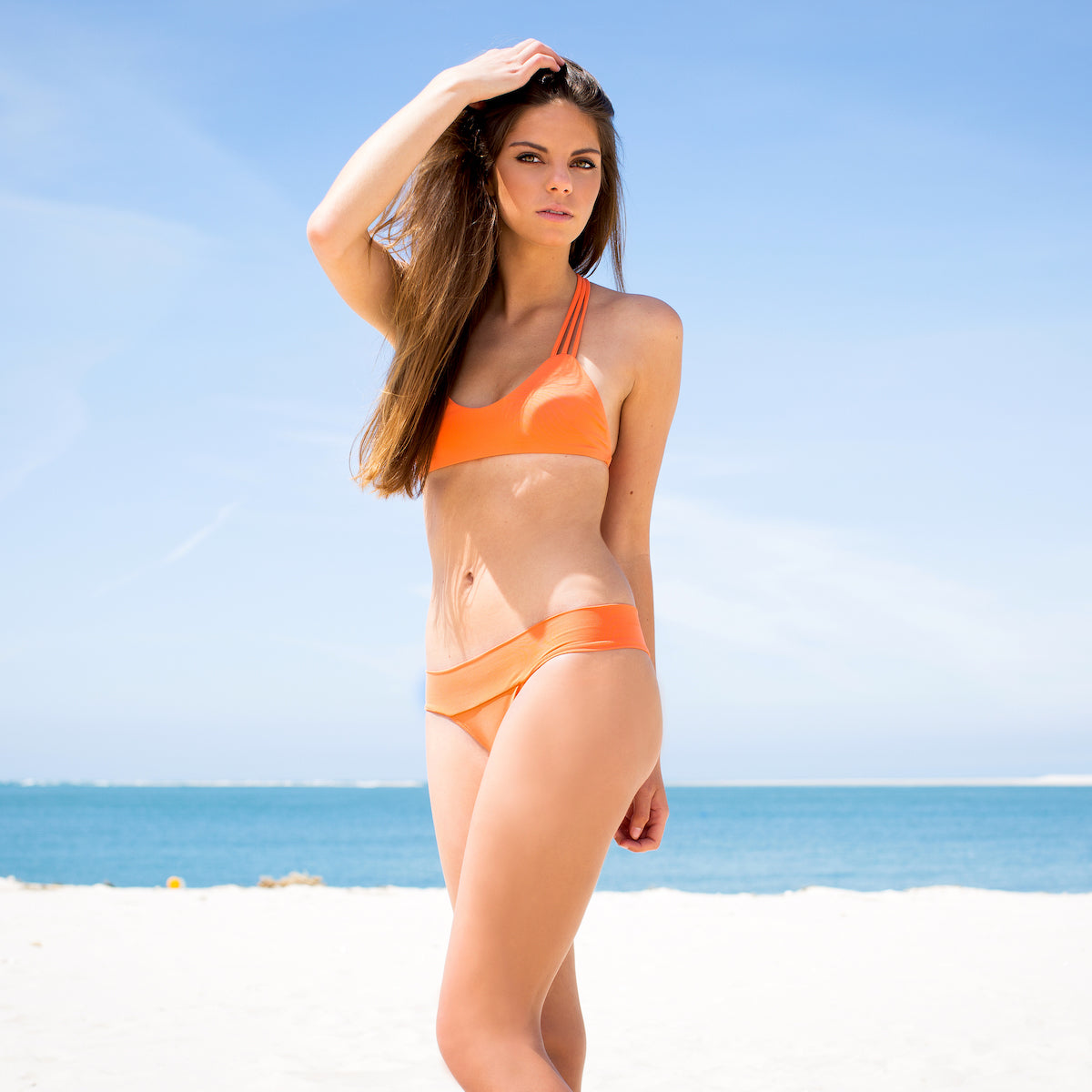 Sunshine Bikini Top in Nectarine by Tuhkana Swimwear