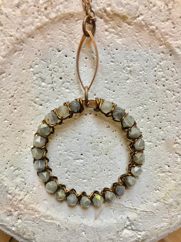 Open Marquis & Beaded Hoop Necklace