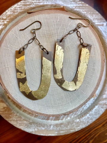 Foil Hand Cut U Earrings
