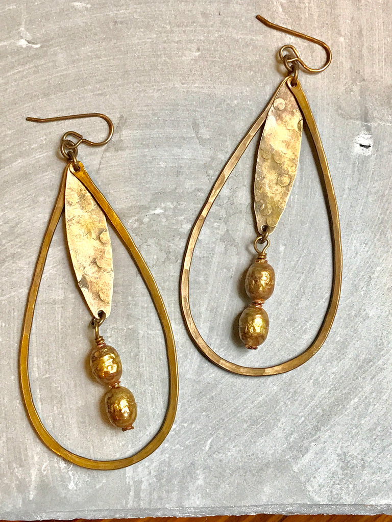 Large Teardrop & African Bead Earrings