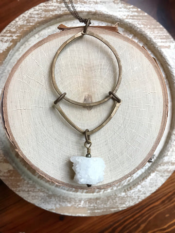 Hoop, V and Druzy Necklace