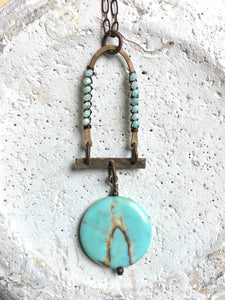 Wrapped Dome & Circle Slab Necklace