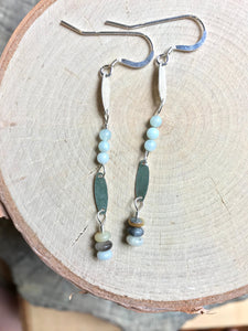 Sterling Ovals & Amazonite Earrings