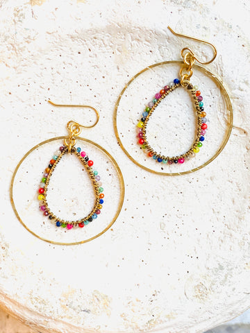 RB Hoop & Multi Teardrop Earrings