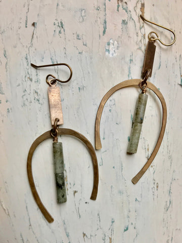 Rectangle, Curved Hoop & Labradorite Earrings